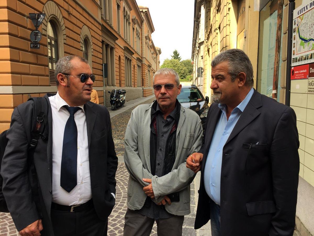 Marchetto con gli avvocati Paolo Larceri e Roberto Grittini