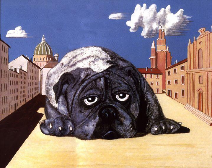 Dino Buzzati, Grande cane in piazza in una giornata di sole (1969)