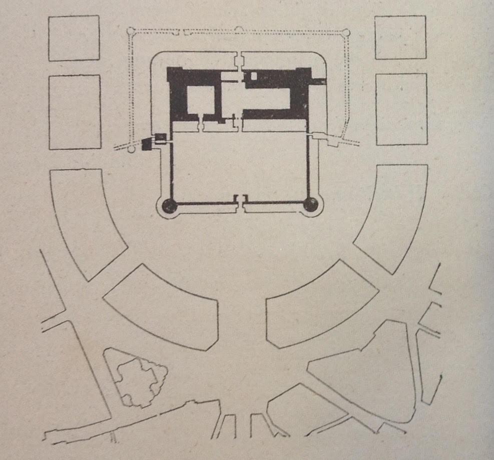 Nuovo piano regolatore, il Castello è salvo, da Luca Beltrami, Il Castello di Milano sotto il domionio degli Sforza dei Visconti (Milano: Ulrico Hoepli, 1894).