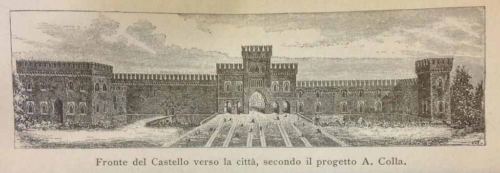 Fronte del Castello verso la città, secondo il progetto del Colla, da Luca Beltrami, Il Castello di Milano sotto il domionio degli Sforza dei Visconti (Milano: Ulrico Hoepli, 1894).