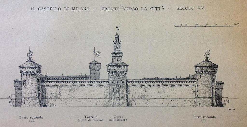 Fronte del Castello verso la città, secondo Luca Beltrami, da Luca Beltrami, Il Castello di Milano sotto il domionio degli Sforza dei Visconti (Milano: Ulrico Hoepli, 1894).