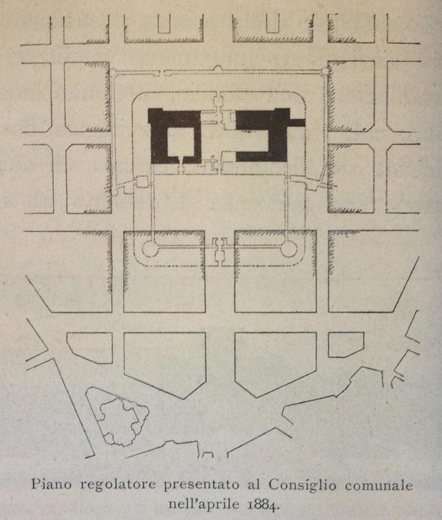 Piano regolatore dell'aprile 1884 da Luca Beltrami, Il Castello di Milano sotto il domionio degli Sforza dei Visconti (Milano: Ulrico Hoepli, 1894).