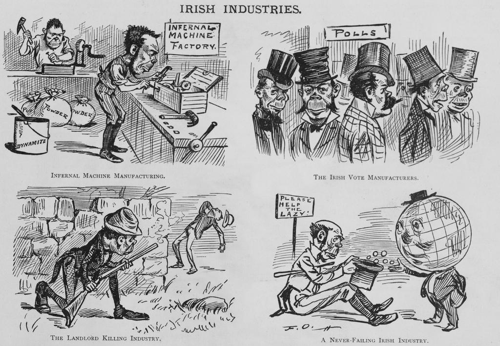 Vignette anti-irlandesi sulla rivista satirica Puck, 1881