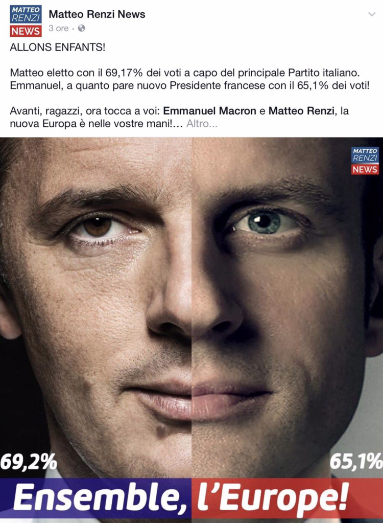post Facebook Macron e Renzi