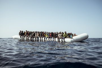February 22nd 2017, 1PM. A rubber boat in distress overloaded with migrants  photographed a few miles off the coast of Libya.
