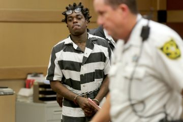 Dieuson Octave, a popular rapper known as Kodak Black, is sentenced to probation by Judge Lisa Porter in Ft. Lauderdale, Fla., on August 16, 2016. He was facing charges including robbery, false imprisonment, fleeing a law enforcement officer, and possession of a firearm by a delinquent. But he was ordered held without bond in the Broward Main Jail on Thursday, Aug. 18, on two warrants that were discovered just as he was about to be released from jail. (Mike Stocker/Sun-Sentinel/TNS via Getty Images)