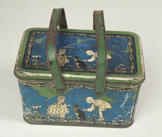 Ohio Art Company, anni 20. Schiscetta col coperto rimovibile e disegni bellissimi