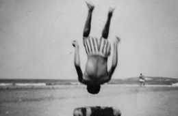 My father when he was young, jumping on the beach. reproduction of a photograph taken from my family album. © Karim El Maktafi