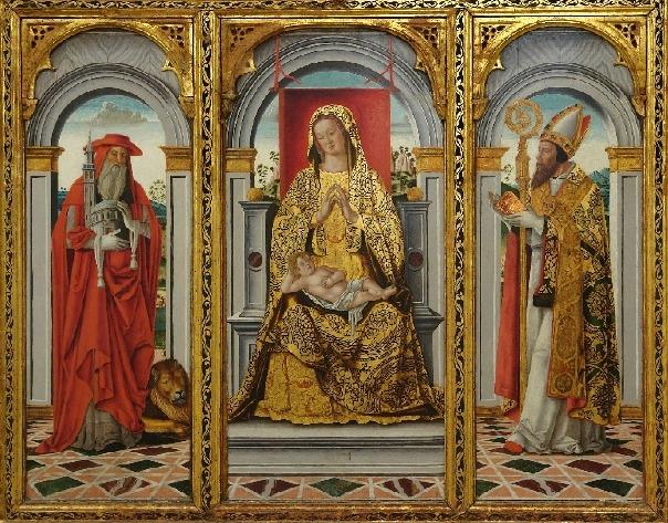 Vergine in trono con Agostino e san Gerolamo, 1490, di Leonardo Boldrini, al Museo Correr