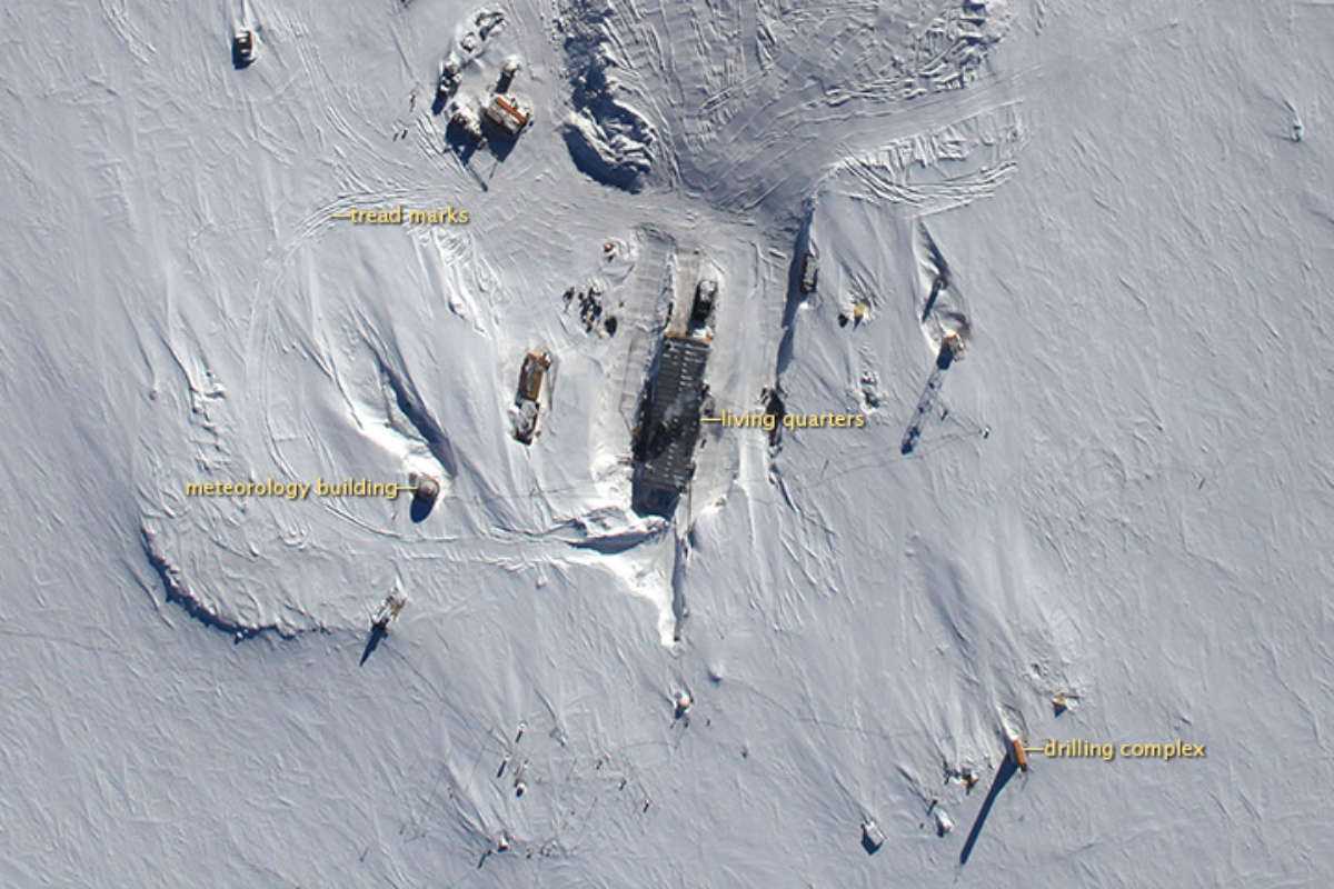 Le basi presenti in Antartide (Foto dall'alto della NASA della base di Vostok)