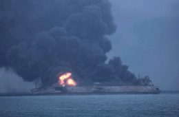 The Panamanian-register tanker Sanchi burns after a collision with a freighter off China's eastern coast on Jan. 7, 2018.