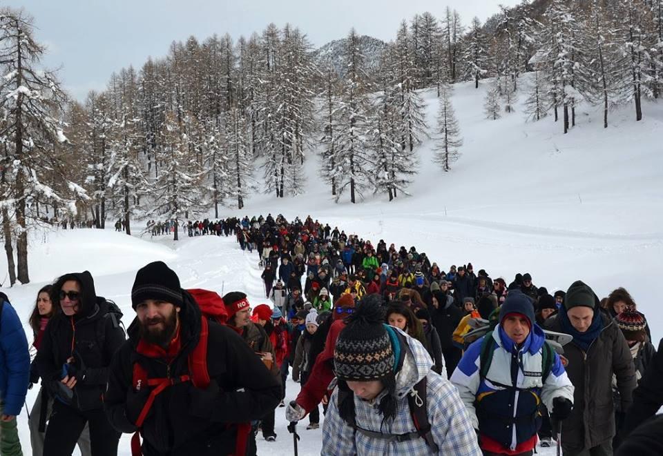 La marcia di solidarietà organizzata da Briser les Frontières a gennaio / foto via Facebook