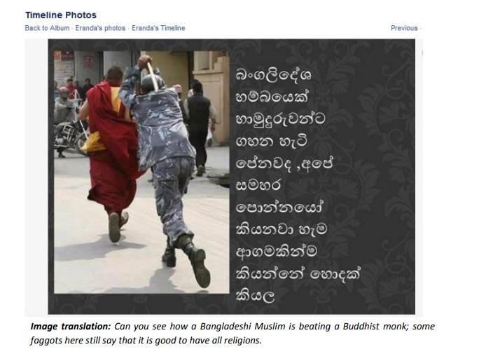 Uno dei post presi come esempio dal rapporto del CPA del 2014 sull'hate speech in Sri Lanka