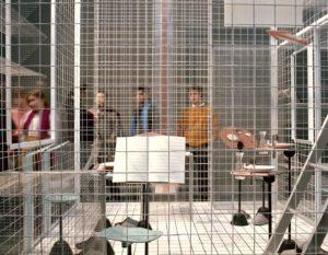 """Il progetto domestico, XVII Triennale di Milano, 1986. Achille Castiglioni, """"Sei persone per 72 m3"""""""