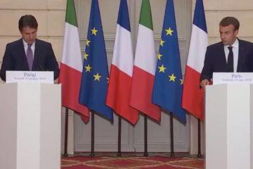Macron e Conte in conferenza stampa