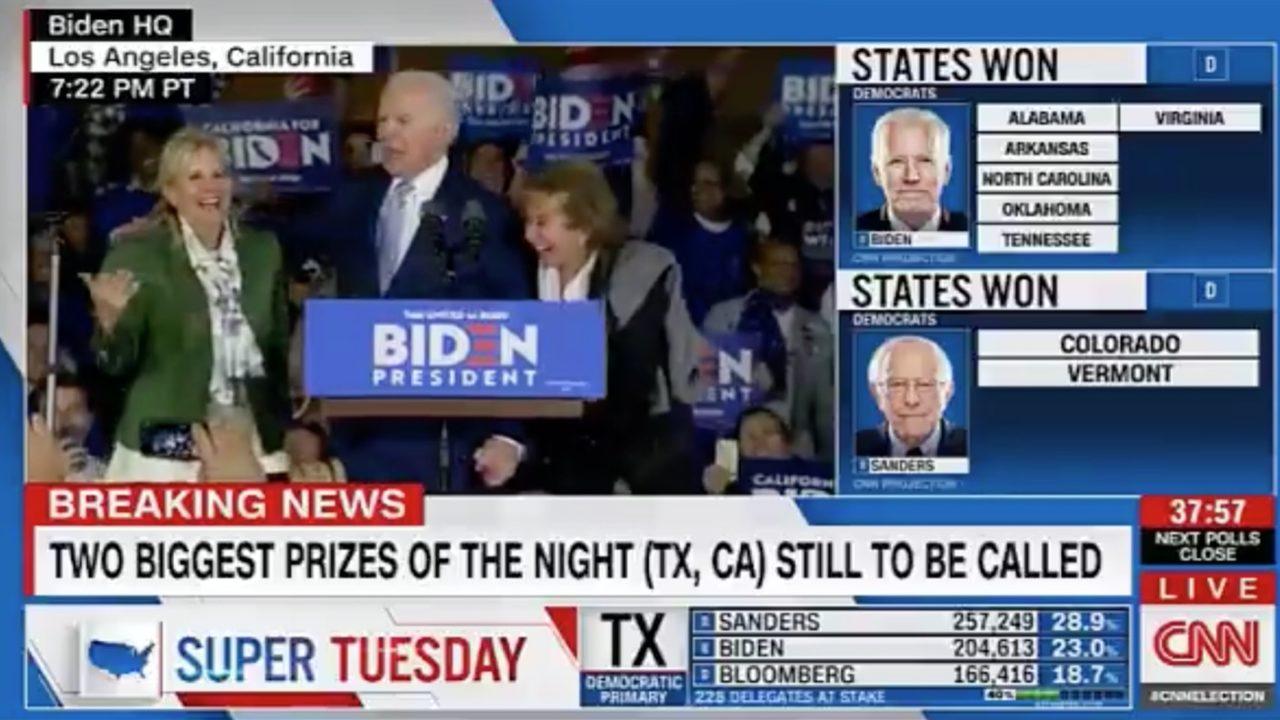 Joe Biden ha scambiato sua moglie per sua sorella durante il discorso della vittoria al Super Tuesday